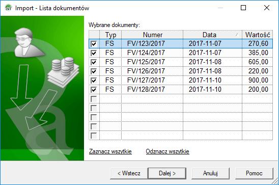 wybór dokumentów do importu