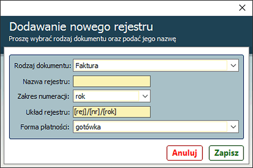 dodawanie nowego rejestru