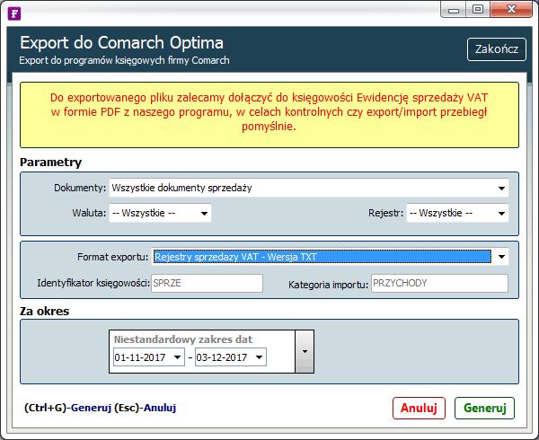 export do comarch optima txt
