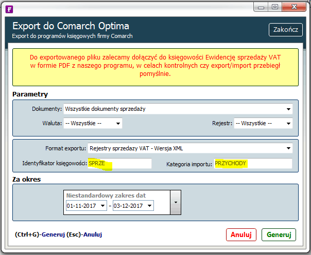 export do comarch optima