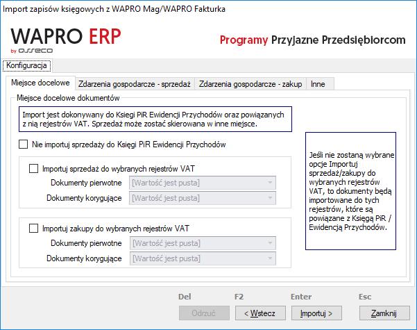 import zapisów wapro