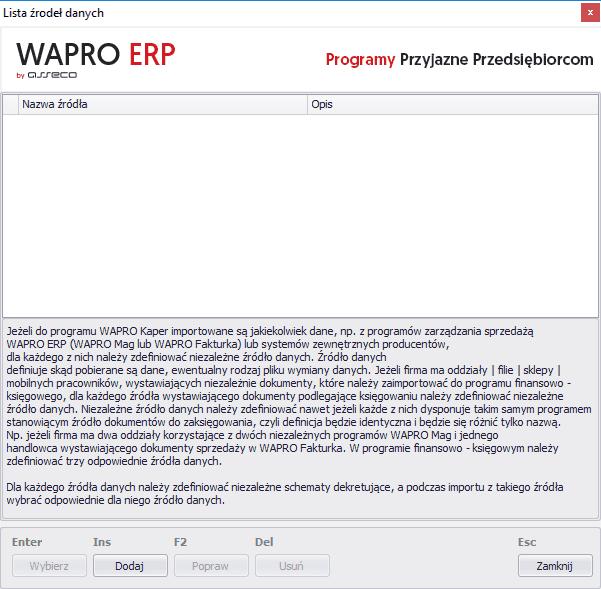 lista źródeł danych wapro