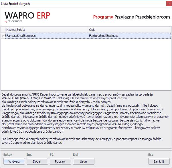 wybór listy źródła danych wapro