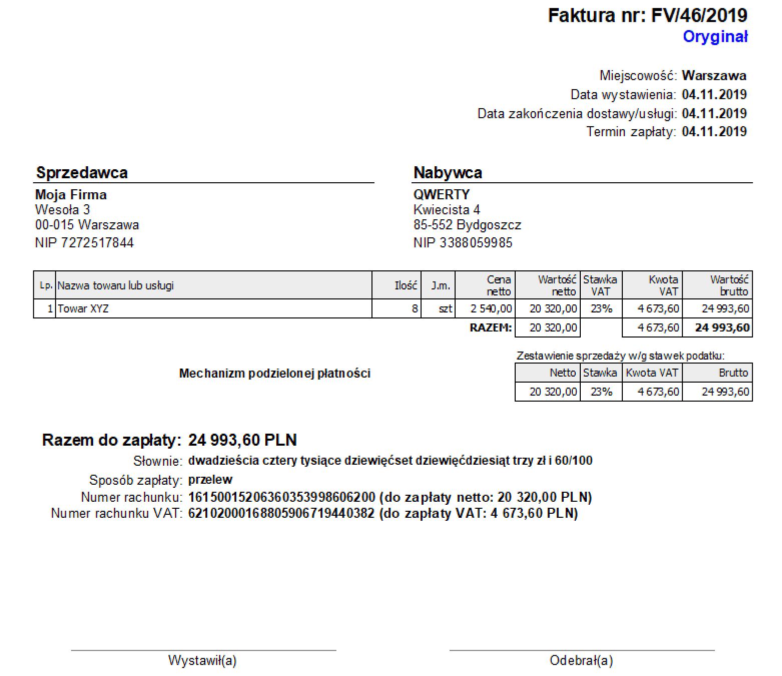 konto VAT na fakturze